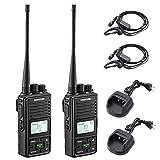 SAMCOM FPCN10A Two Way Radio Rechargeable 3000mAh Battery Business UHF Handheld Walkie Talkie Long Range Radio Double PTT/LCD Display/Earpieces/VOX/SCAN/Lock, 2 Packs