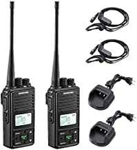 SAMCOM FPCN10A Two Way Radio Rechargeable 3000mAh Battery Business UHF Handheld Walkie Talkie Long Range Double PTT/LCD Display/Earpieces/VOX/SCAN/Lock, 2 Packs