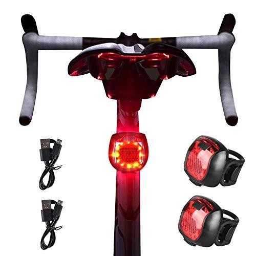 RBNANA Fahrrad-Rücklicht (2 Stück), ultra hell, wiederaufladbar über USB, wasserdicht, Sicherheits-LED-Mountainbike-Rücklichter