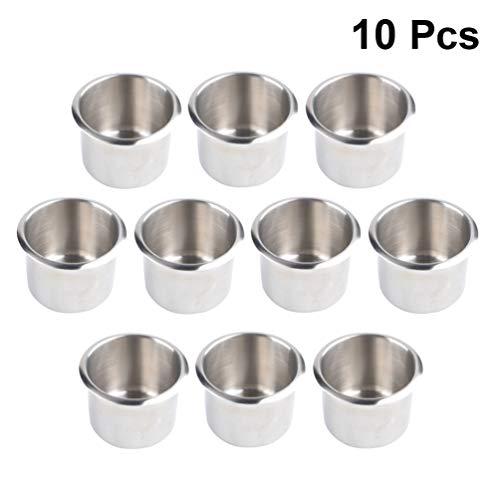 Wakauto Edelstahl becherhalter Drop in trinkbecher Tisch getränkehalter für rv Auto LKW Camper 8x5 5 cm 10 stücke (Silber)