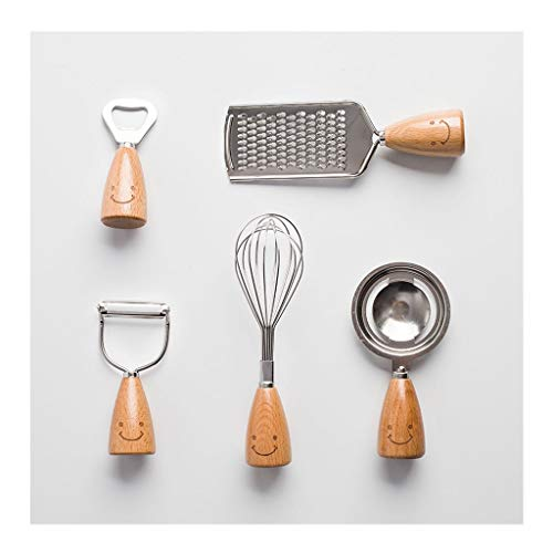 Spatel Küchenzubehör Set, kreativer Küche-Werkzeug-Kit Holzgriff Edelstahl-Quirl Ei-Separator-Schäler Flaschenöffner Bier
