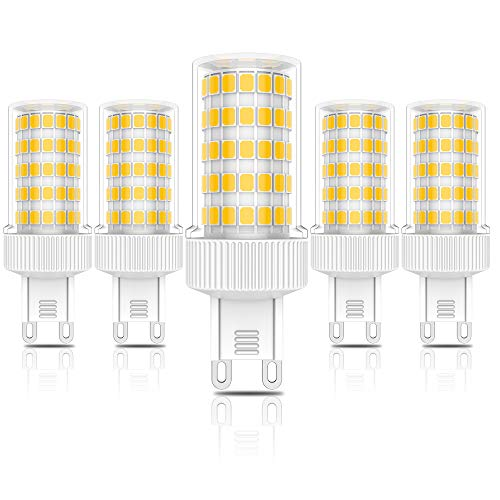 G9 10W Lampadine LED,Equivalente di Lampadine alogene da 90W,Nessuno sfarfallio,Bianco Caldo 3000K, 900 Lumen, 86x2835 LED SMD, AC220V -240V, Pacco da 5