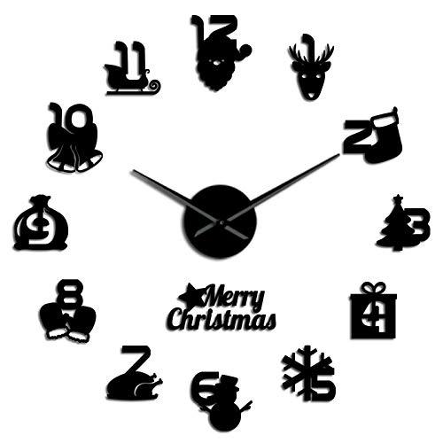 jieGorge Christmas Frameless DIY Wall Mute Clock 3D Mirror Surface Sticker Home Decor, Clock, for Christmas Day (Black)