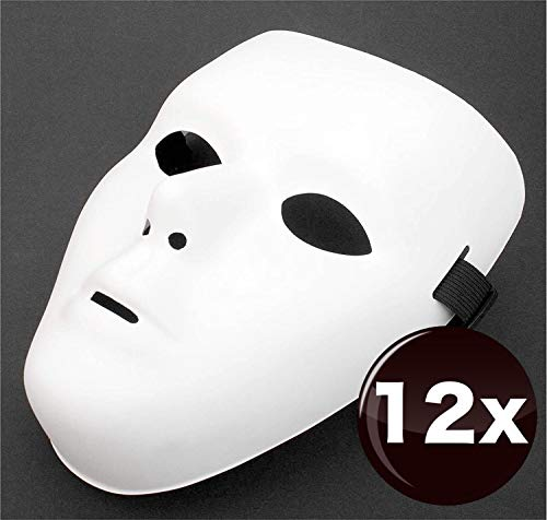 12 x Máscara teatral para enmascarar máscaras, máscaras anónimas, cara blanca completa sin pintar para damas y caballeros, niños para pintar en Carnaval y Carnaval, color blanco