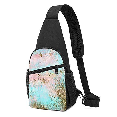GIERTER Bolso bandolera rosa y dorado de espuma de mar de sirena, mochila ligera para el hombro, bolsa cruzada para viajes, senderismo