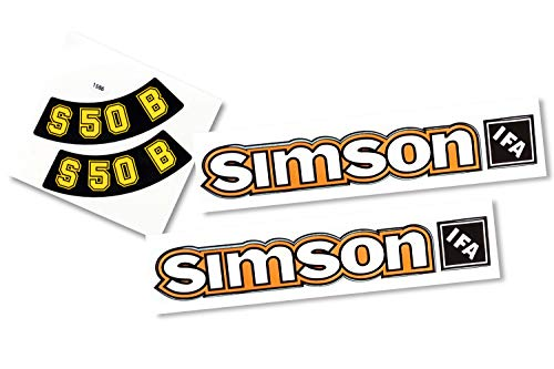Set Aufkleber Sticker Simson S50B Gelb - Alte Form - Tank und Seitendeckel
