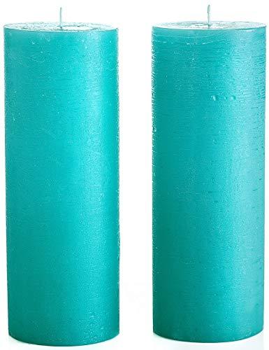 Melt Candle Company - Set di 2 candele a colonna non profumate, 7,5 x 20 cm, senza profumo, per matrimoni, decorazione della casa, ristoranti, spa, stoppino in cotone senza fumo