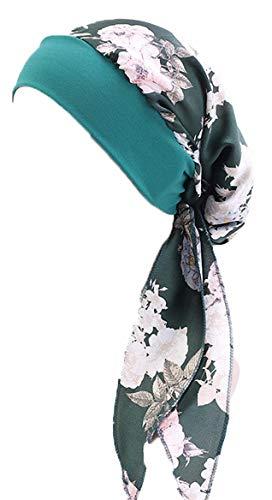 ToBe-U - Turbantes de quimio para mujer, pelo largo, bufanda, gorros, regalos para la pérdida de cabello. Dorado Tjm-329b-verde oscuro Flor talla única