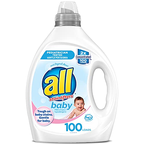 All Liquid Laundry Detergent, Gentle for Baby, Unscented and Hypoallergenic, 2X Concentrated, 100 Loads