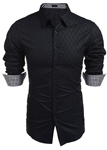 COOFANDY Herren Hemd Langarm Slim Fit Diamant-Gitter Karohemd Kariert Langarmhemd Freizeit Business Party Shirt für Männer