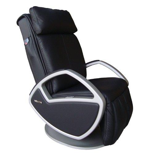 WELCON Design Massagesessel | Massagestuhl Leder schwarz mit Shiatsu Massage Space by Keyton - auch als Fernsehsessel, Relaxsessel, Relaxliege oder Ruhesessel einsetzbar