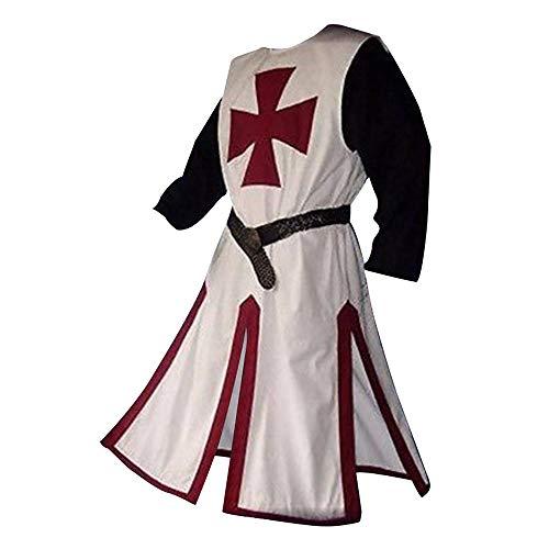 Feynman Disfraz de caballero medieval, caballero templario, cruzado, tnica, templo, carnaval, cosplay, falda de arma para hombre, elegante, rojo, XXXL