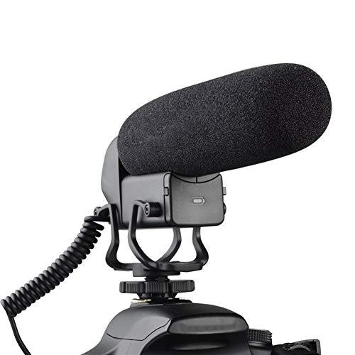Los teléfonos inteligentes de la cámara Micrófono eléctrico condensador cardioide micrófono direccional con conector de 3,5 mm para iPhone Android iPad PC (Color : Black)