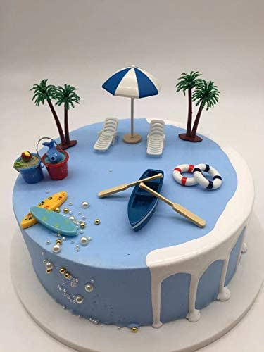 12 Pieces cake Toppers Surfboard Beach Chair Boat palm tree and Umbrella DecoSet Cake Decoration product image