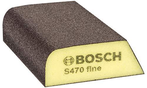 Bosch Professional 2608608223 Esponja S470 por Profile Fina (Madera, plástico y Metal, 69 x 97 x 26 mm, Accesorios para Lijado a Mano), Azul/Gris, Fino