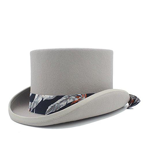 Best Choise Sombrero de Copa de Fieltro para Mujeres/Hombres Steampunk Bowler Sombreros mágicos Sombrerero Loco (Color : Gray, Size : 59CM)