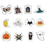 Cymax 12 Pezzo Formine per Biscotti Halloween ,Acciaio Inossidabile, Stampi Biscotti Halloween per Biscotti Frutta Torta pane Festa Halloween (Argento)