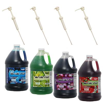 4 Bottles of Snocone Syrup Made with PURE CANE SUGAR