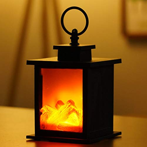 LED Creative Fireplace Flame Lamp Nordic Style Decoration Christmas Ornament, Led Light for Christmas (Yellow)
