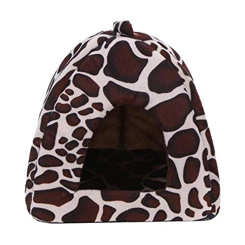 weichuang Kennel Soft Strawberry Leopard Pet Dog Cat House Tent Kennel Foldable Doggy Winter Warm Cushion Basket Animal Bed Cave Pet Product Kennel (Color : White, Size : XL)