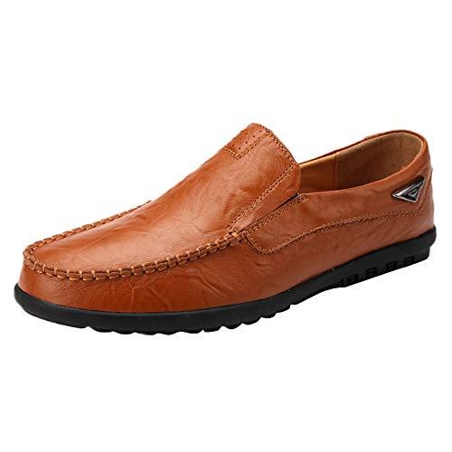 Dorical Erbsenschuhe Herren Leichte Schuhe -Niedrige Schuhe -Freizeit Kunstleder Comfortable Shoes - Einzelne Schuhe -Freizeitschuhe- Faule Schuhe -Hausschuhe Für Männer(Braun,39 EU)