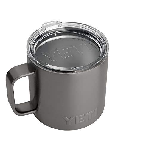 yeti insulated drink mugs YETI Rambler 14 oz Mug, Stainless Steel, Vacuum Insulated with Standard Lid, Graphite