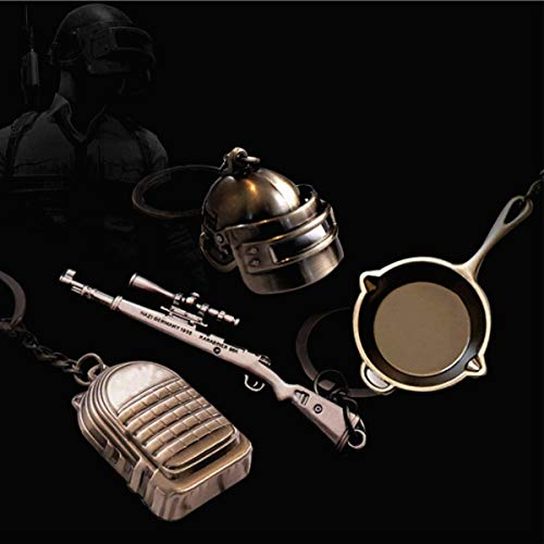 IMIKE 4 Pcs Metal Keychains Level 3 Helmet Kar98K Backpack Frying Pan Keyrings Charm Pendant Souvenir Ornaments Gorgeous Accessories Gifts (Four-Piece Set)