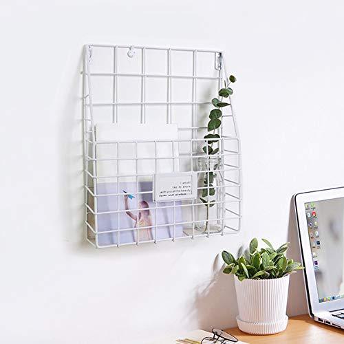 Jeteven Wandregal, Zeitschriftenhalter Wandhalterung Zeitungshalter Wandkorb Eisenregal für Bücher Büro Wohnzimmer Küche Weiß