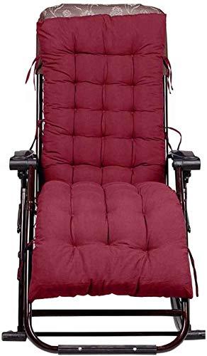 SNFHL Garden High Back Cushion, Außenterrasse Sun Chair Cushion, Verdicktes Kissen,155 * 48 * 8cm-Wine