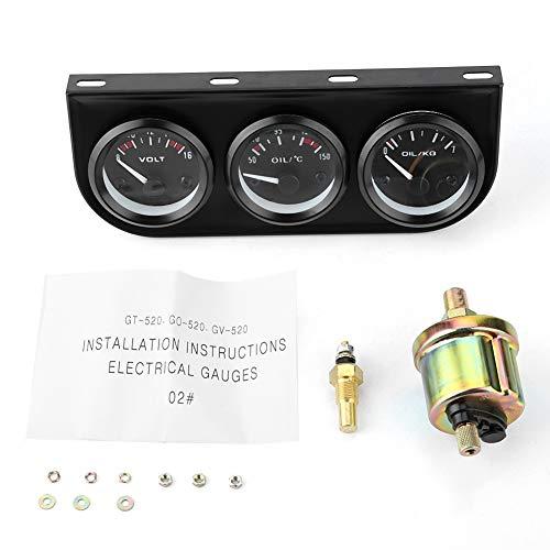 Kit de calibre triple, 3 en 1 Kit de manómetro triple Voltímetro Temperatura del agua Taómetro del medidor de presión de aceite
