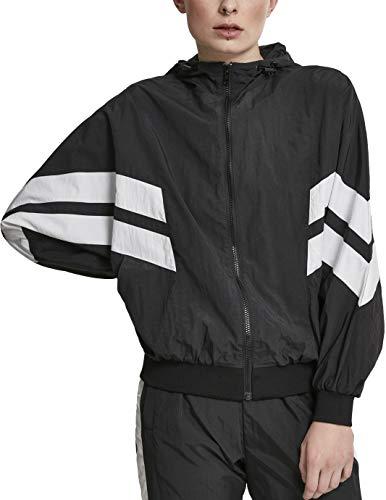 Urban Classics Damen Ladies Crinkle Batwing Jacket Jacke, Schwarz (Blk/Wh, Large (Herstellergröße: L)