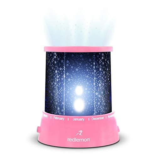Redlemon Lámpara LED Proyector de Estrellas, con Conexión USB y Baterías AA (No Incluidas), 2 Modos de Iluminación Luz Blanca y de Colores, Ideal para Niños, Tamaño Portátil, Lámpara de Noche. Ros