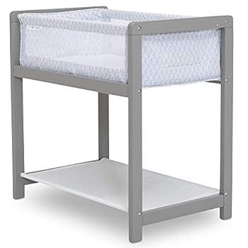 Delta Children Classic Wood Bedside Bassinet Sleeper - Portable Crib with High-End Wood Frame Link