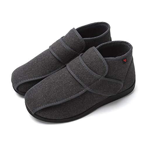 TDYSDYN Zapatos de Terapia de Artritis Edema,Calzado de Invierno cálido para el pie de la Diabetes, Zapatos de pie Ancho y Ancho de Pulgar valgus-Grey_48
