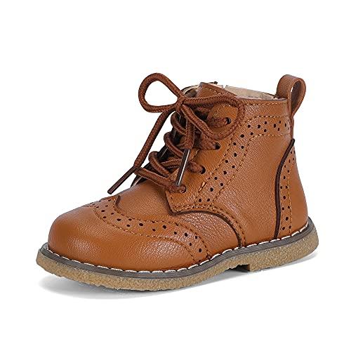 MASOCIO Botas Niña Niño Botines Niños Niñas Colegio Escuela Ankle Boots Marrón Talla 23 EU (CN 23)