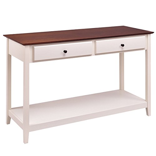Giantex Console Sofa Table Wood Entryway Living Room Accent Stand w/Drawer and Shelf (White & Coffee)