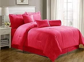 Luxury Self Stripe Red King Set Of 4-piece Bedding Set