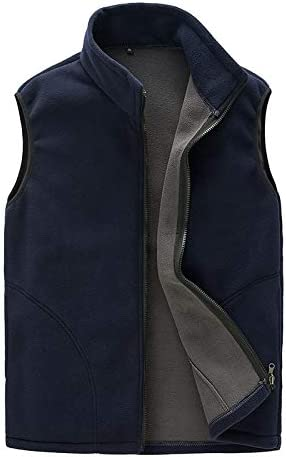 LYLY Vest Women Men Vest Casual Warm Zip Casual Fleece Vest Spring Male Waistcoat Autumn Warm Sleeveless Jacket Outdoor Vest Coat Vest Warm (Color : Navy Blue, Size : XL)