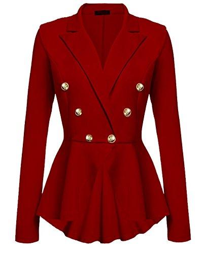 Abrigo Mujer Blazer Americana Traje Slim Chaqueta Del Traje OL Mujeres Botón de Metal Rojo 2XL