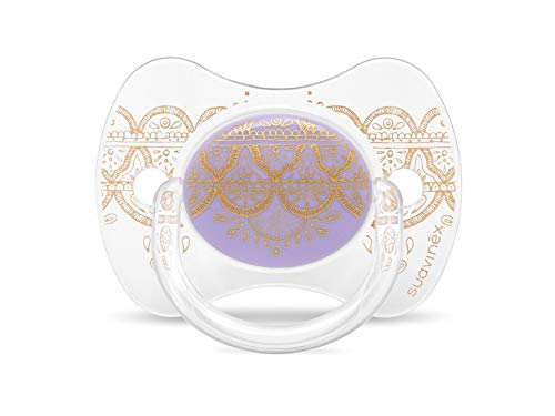 Suavinex - Chupete Premium Haute Couture Tetina Fisiológica Silicona. Chupete 0-4 Meses. 0% BPA, Diseño Étnico Color Morado