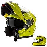 CRUIZER–casco Modular homologado para moto Amarillo Alta visibilidad con...