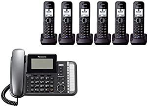 Panasonic KX-TG9582B + 4 KX-TGA950B Corded/Cordless Combination Telephone 2-Line DECT 6.0 System