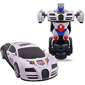 Toyshine Deformation Bump and Go Toy, Musical Electronic Robot Car Toy for Boys with 3D Flashing Light and Sound