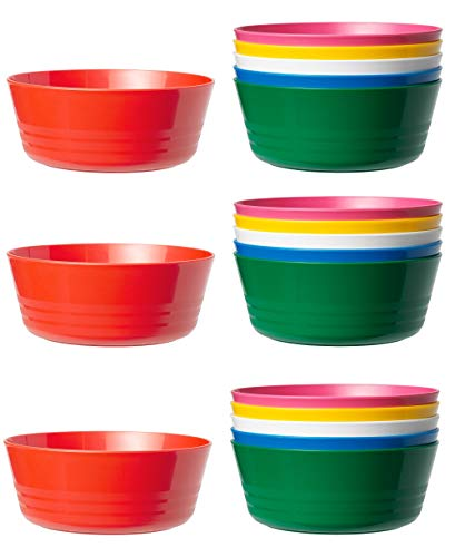 Ikea Kalas 204.212.93 BPA-freie Schüssel, mehrfarbig, 6er-Pack, Set mit 18 Schalen