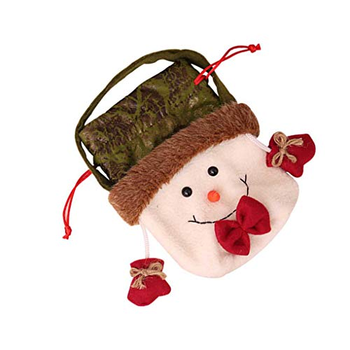 Qinghengyong Borsa Regalo di Natale Babbo Cnady Babbo Natale Natale del Pupazzo di Neve Renna Coulisse Pouch Xmas Candy Decorazione dell'albero di Natale 2