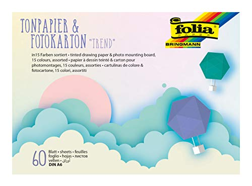 folia 6603 - Bastelblock Trend Tonpapier & Fotokarton DIN A6, 30 Blatt Tonpapier und 30 Blatt Fotokarton sortiert in 15 Pastellfarben, handlicher Block mit Kopfleimung