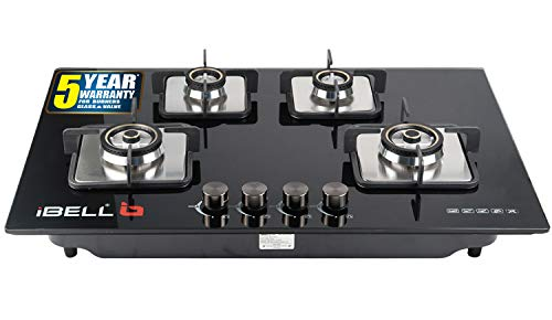 iBELL 555GH Hob Toughened Glass 4 Burner Top Gas Stove with Auto...