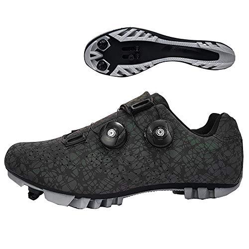 LU-Model Zapatillas de Ciclismo Elite SPD MTB para Hombres Mujeres Ideales para Bicicletas de montaña, Ciclismo de Ciclo XC en incluidos Luminous black-42