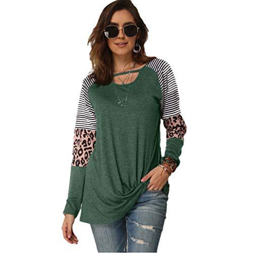 Lvguang Frauen Leopard Druckzebra Druck Lange Hülsen Lose T-Shirt Bluse Beiläufige Einfache Pullover Oberseiten (Grün, Asia L)