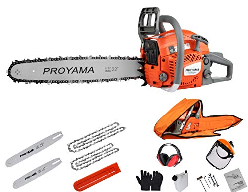 PROYAMA 51.5cc 22 Inch 18 Inch Gas Chainsaw with Two Chains & Carrying Bag